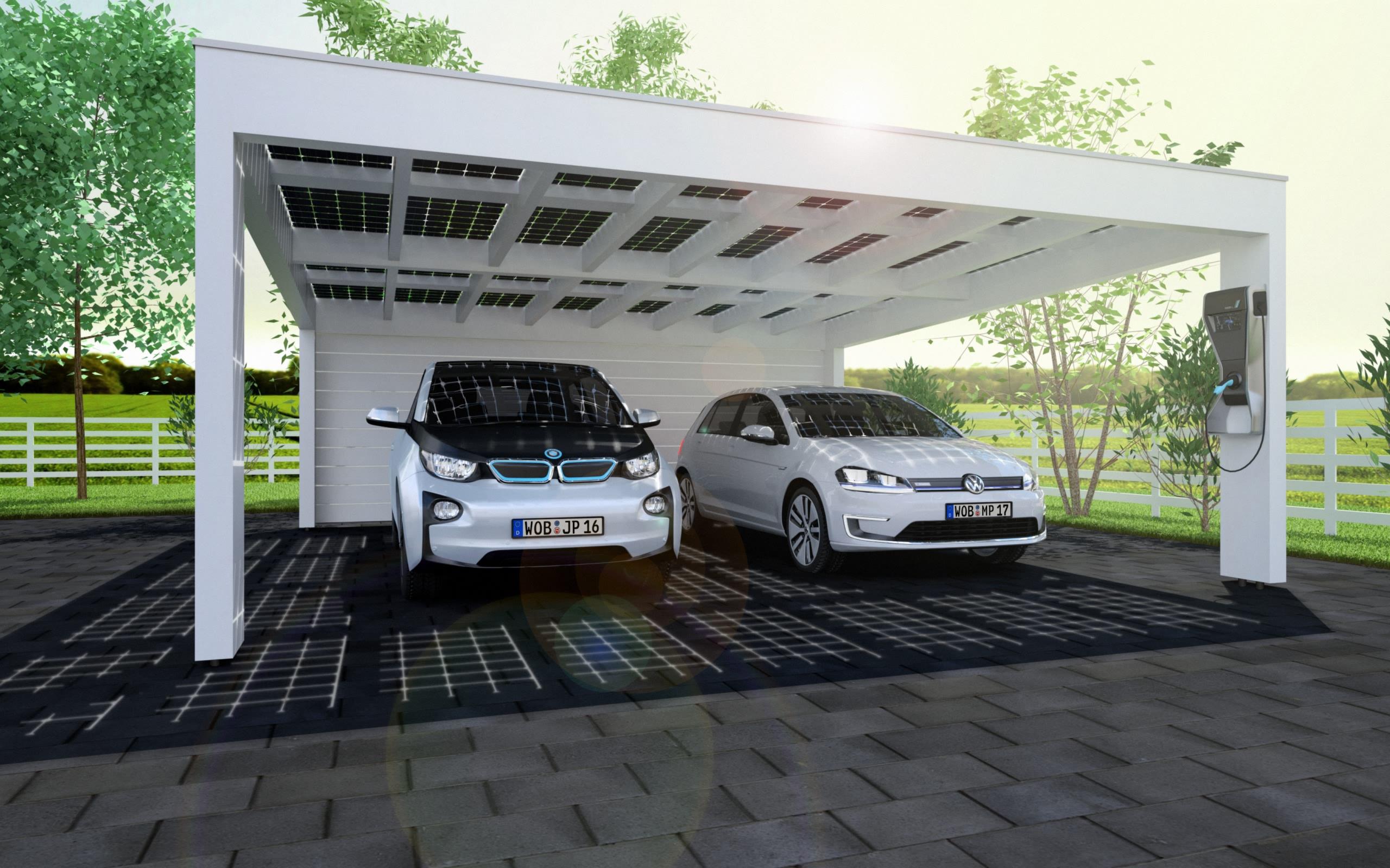 Auto Kühlschrank Solar : Solarcarport ab u u ac aus holz alu oder stahl jahre garantie